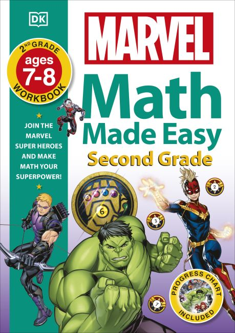 Paperback cover of Marvel Math Made Easy Second Grade 7-8 Years