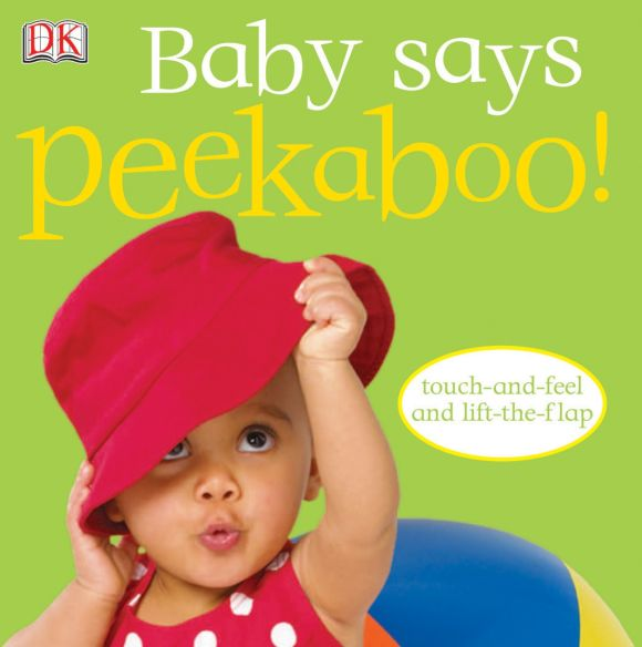 Board book cover of Baby Says Peekaboo!
