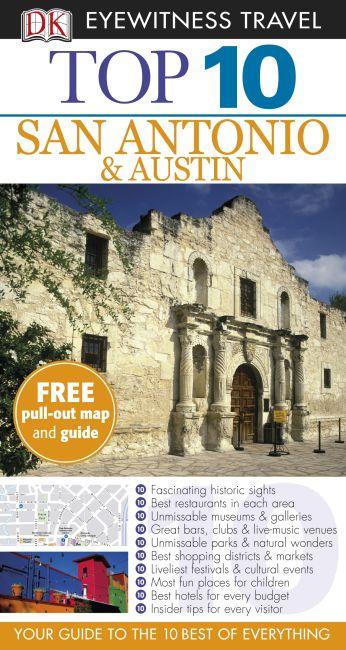 Paperback cover of DK Eyewitness Top 10 San Antonio and Austin