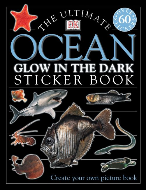 Paperback cover of Ultimate Sticker Book: Glow in the Dark: Ocean Creatures