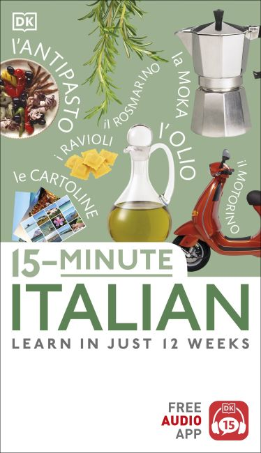 Paperback cover of 15-Minute Italian