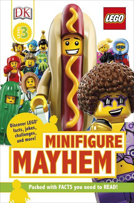 Hardback cover of DK Readers Level 3: LEGO Minifigure Mayhem