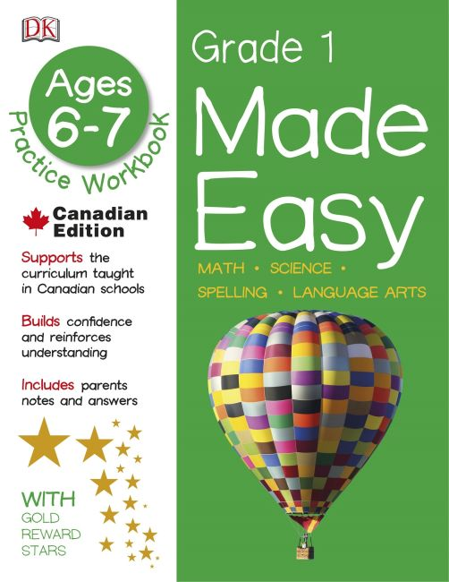 Paperback cover of Made Easy Grade 1: Math Science Spelling Language Arts