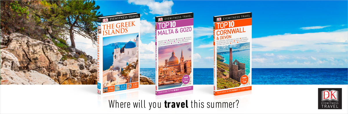 Three DK Travel Guides with Marble Beach on Thassos Island, Greece as background