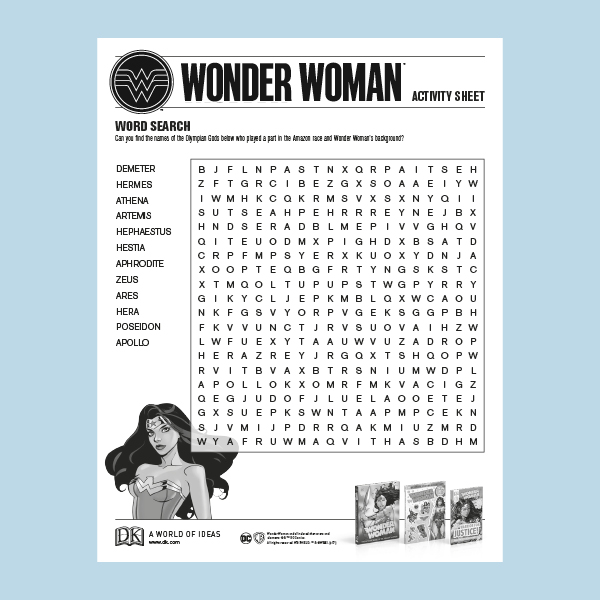 Activity Sheet: Wonder Woman word search pdf