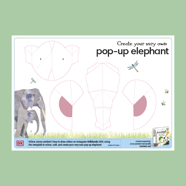 Color your own tractor and dump truck, or craft your own pop-up elephant! pdf