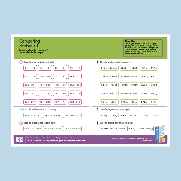 Maths Comparing Decimals pdf