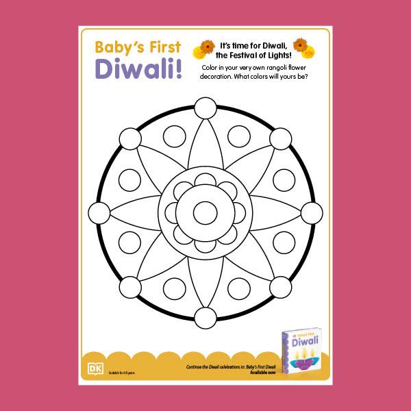 Baby's First Diwali Coloring Sheet pdf