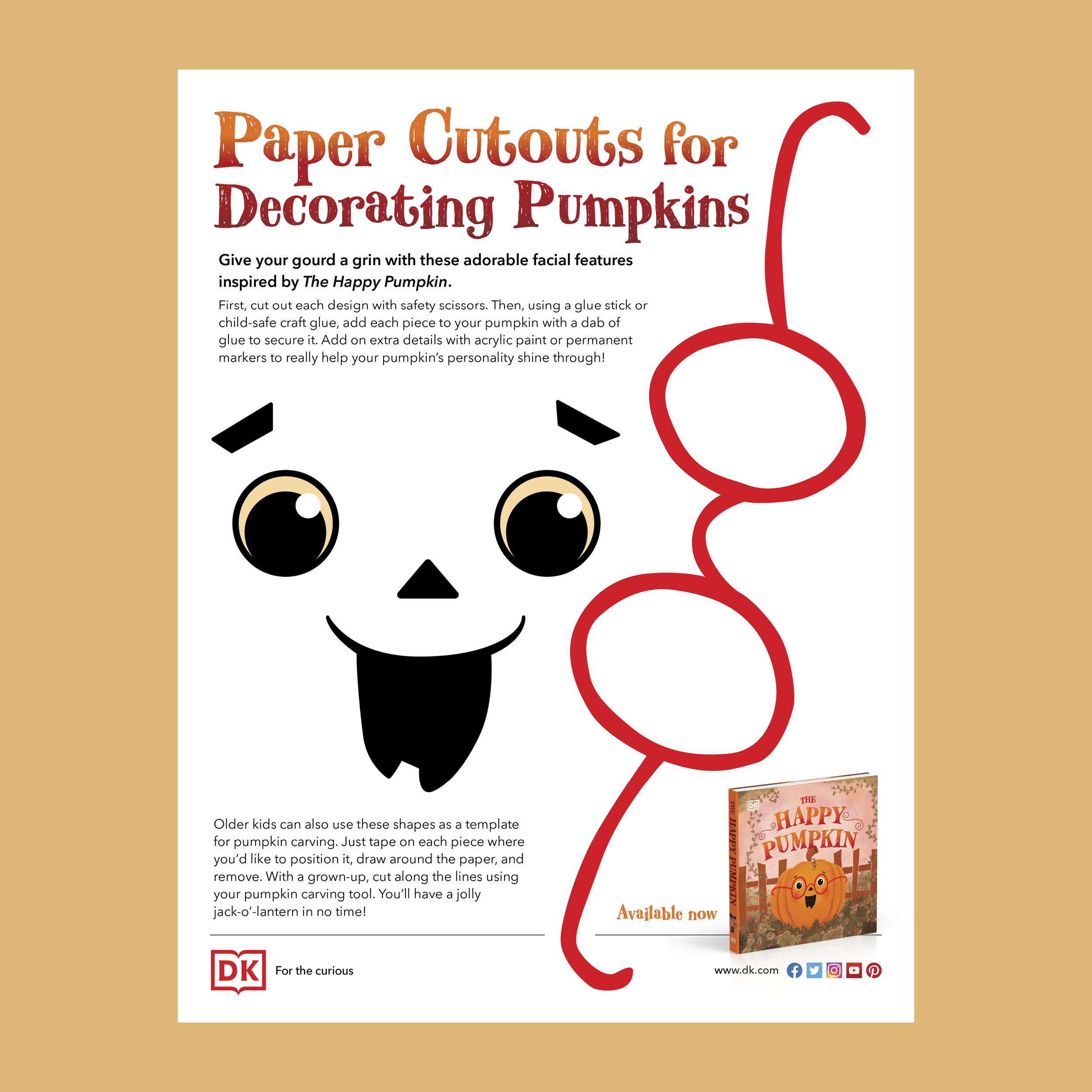 Paper Cutouts for Decorating Pumpkins Activity Sheet