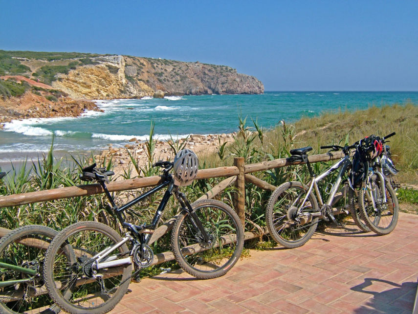 Bikes parked near Praia do Zavial in the Algarve
