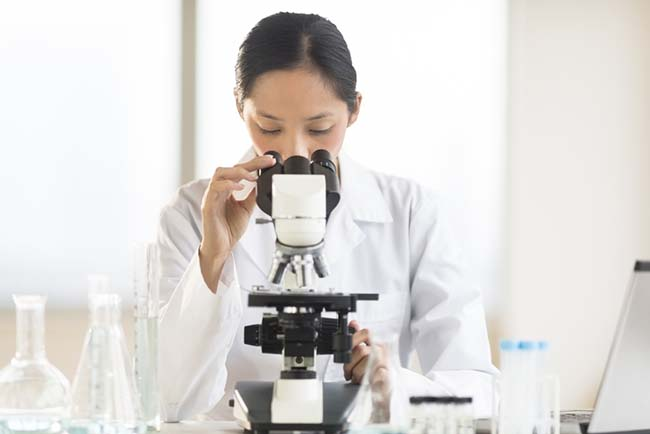 Doctor Using Microscope At Desk In Laboratory