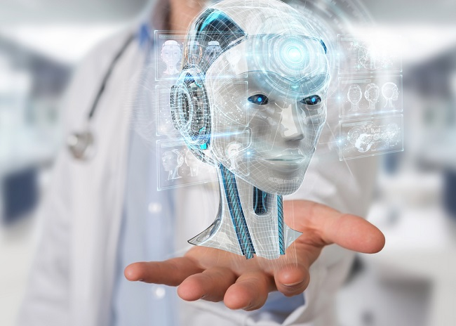 Doctor using digital artificial intelligence interface 3D render