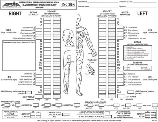 Lembar penilaian International Standards for Neurological Classification of Spinal Cord Injury. Sumber: Openi, 2013