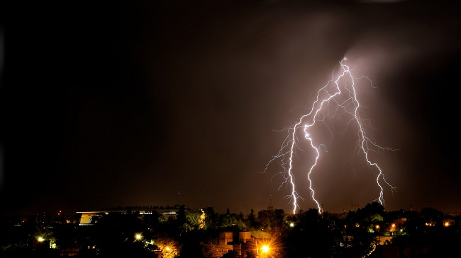 Lightning,Strikes,At,Night,During,A,Severe,Thunderstorm,Over,The