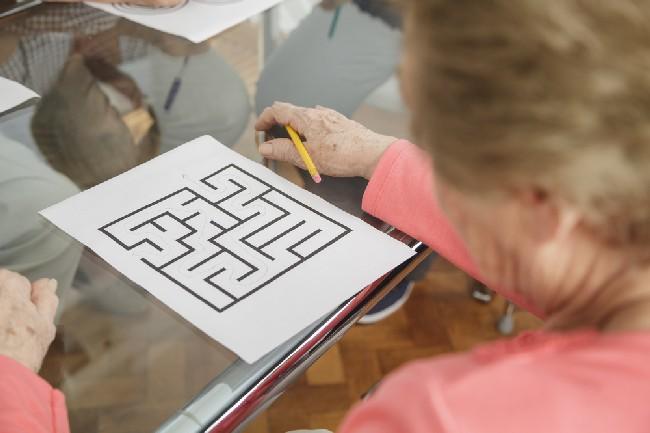 Senior,Citizens,Working,On,Cognitive,Mind,Puzzles,-,Rehabilitation,Theme.