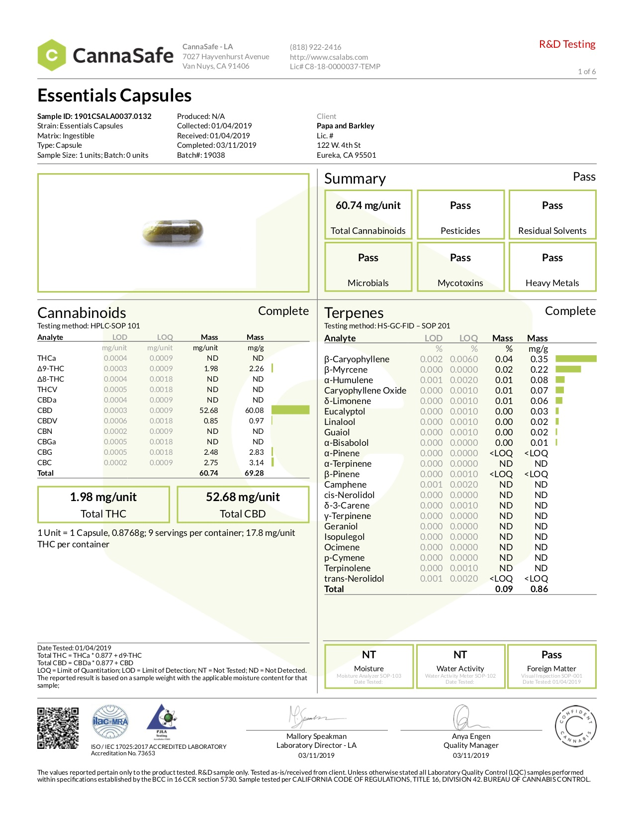 Essentials Capsules COA