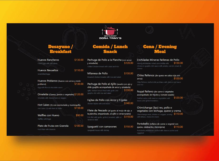 menu dona triny
