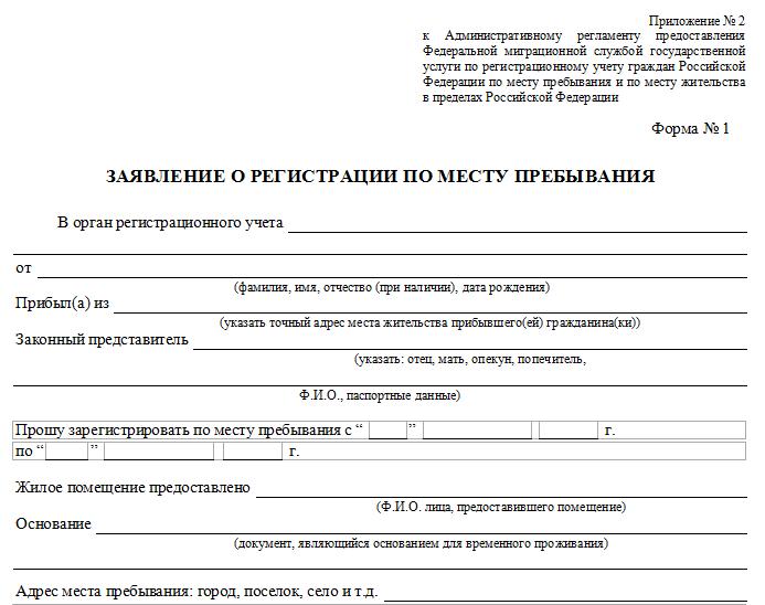 Подготовка заявления о временной регистрации по месту пребывания