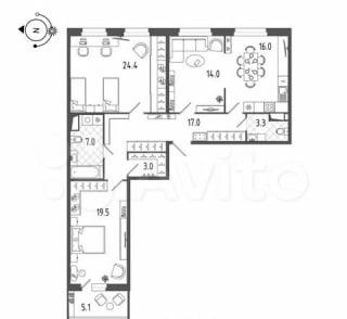 3-к. квартира, 106,2м², 11/19эт.