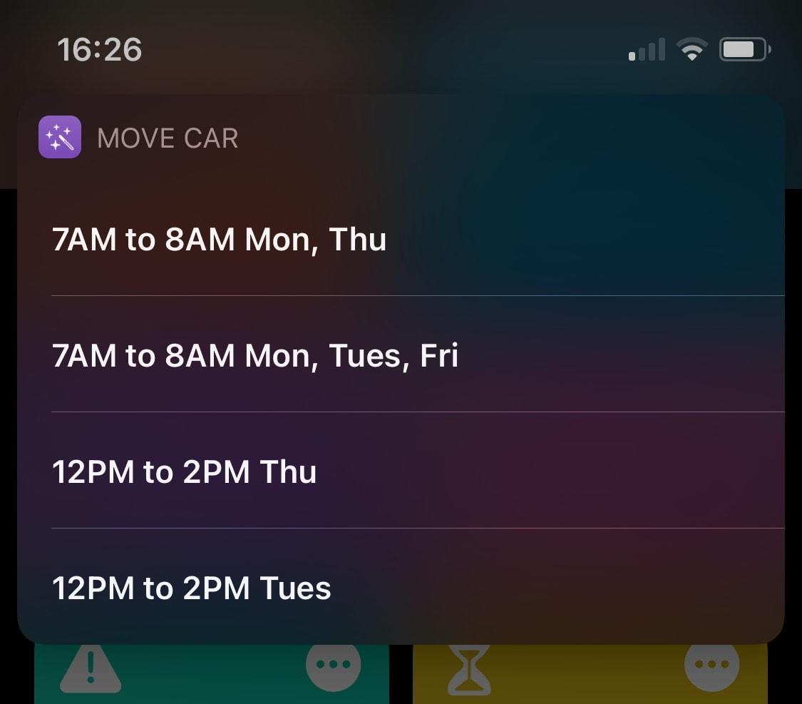iOS Shortcut schedule