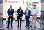 The official ribbon cutting ceremony:. From left to right: Thinus Delport (Abland Director), Solly Msimanga (Tswane Executive Mayor Counsellor), Marc Wainer (Redefine Properties Executive Chairman) and Willem Strauss (BlueBulls President).