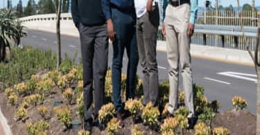 Pictured on the new Flanders Drive M41 bridge into Cornubia are from L-R Steve Angelos, Project Manager eThekwini Municipality, Sithembiso Mthembu , Head Development Execution, Tongaat Hulett Developments. Mtura Matshini, Development Executive, Tongaat Hulett Developments, Selemo Sefehle, Project Manager, Tongaat Hulett Developments.