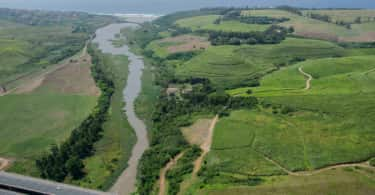 An aerial view of the uMdloti River from the N2 to the sea.