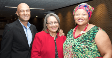 The Executive Mayor of the City of Cape Town, Patricia de Lille with SAPOA CEO Neil Gopal and SAPOA President, Nomzamo Radebe.