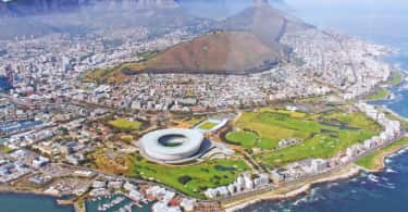 Helicopter view of Cape Town