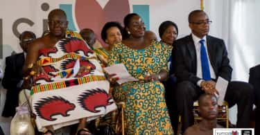 Ashanti monarch, Otumfuo Osei Tutu II, his wife and Kofi Sekyere, Chairman of the Board of the Kumasi City Mall.