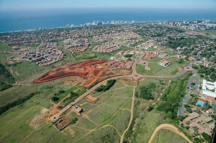 An aerial photograph showing Izinga Estate.