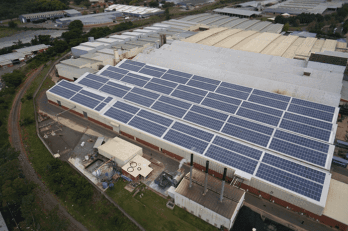 An aerial view of Belgotex's solar paneling.