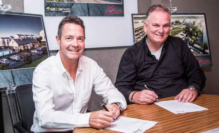 Rob Wesselo, CEO of Transcend and Steve Brookes, CEO of Balwin Properties.