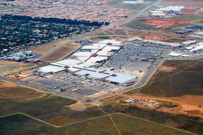 An aerial view of Middelburg Mall.