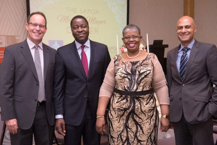 SAPOA Executives met the Executive Mayor of eThekwini Municipality, Councillor Zandile Gumede at its Meet the Mayor Dinner in Durban last night FROM LEFT: SAPOA President Peter Levett, Executive Chairman of GladAfrica Group, Noel Mashaba, the Executive Mayor of eThekwini Municipality, Councillor Zandile Gumede and SAPOA CEO, Neil Gopal