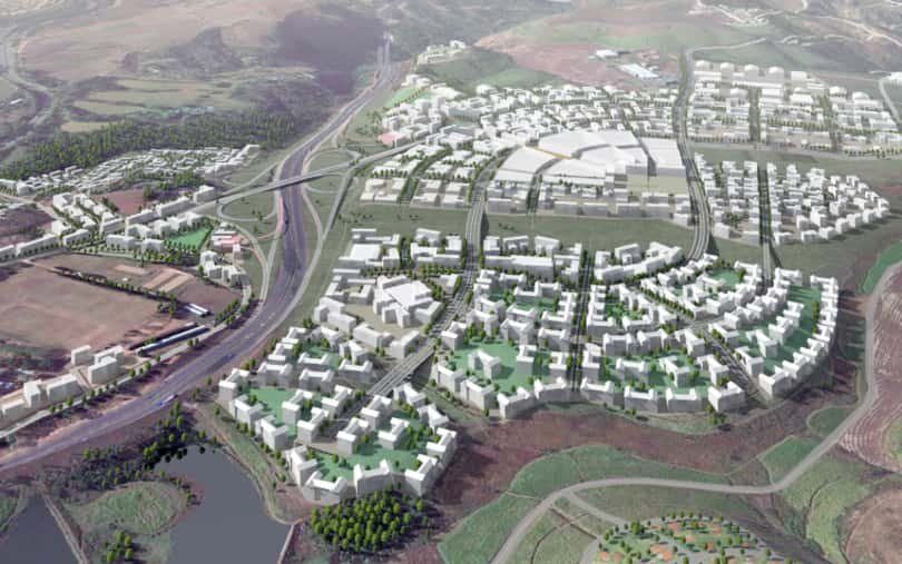An architectural rendering of the Ntshongweni Urban Development.