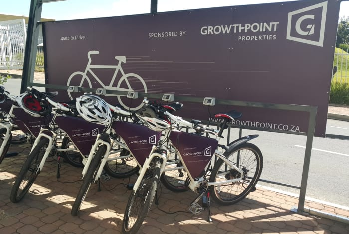 Growthpoint Properties eco-friendly e-bikes station in Sandton.
