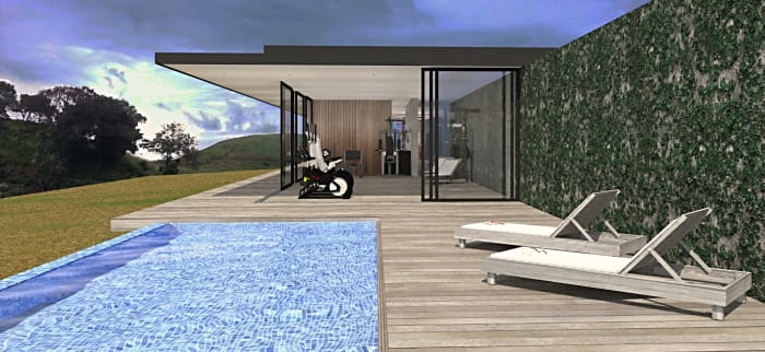 An artist's impression of the view of the pool and clubhouse at Shoreline Sibaya in Kwa-Zulu Natal.