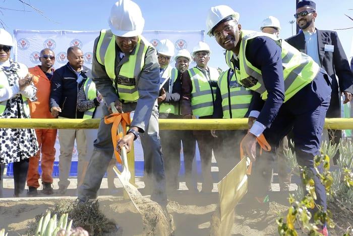 Executive Mayor of Maluti-a-Phofung Local Municipality, Cllr Vusimusi William Tshabalala and Sedise Moseneke, Executive Director of Vukile Property Fund at Maluti Crescent Shopping Centre (formerly Setsing Crescent) in Phuthaditjhaba.