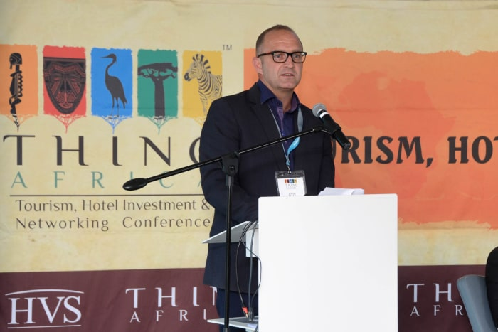 Guy Stehlik addresses delegates at THINC Africa Hotel Investment Conference in Cape Town.