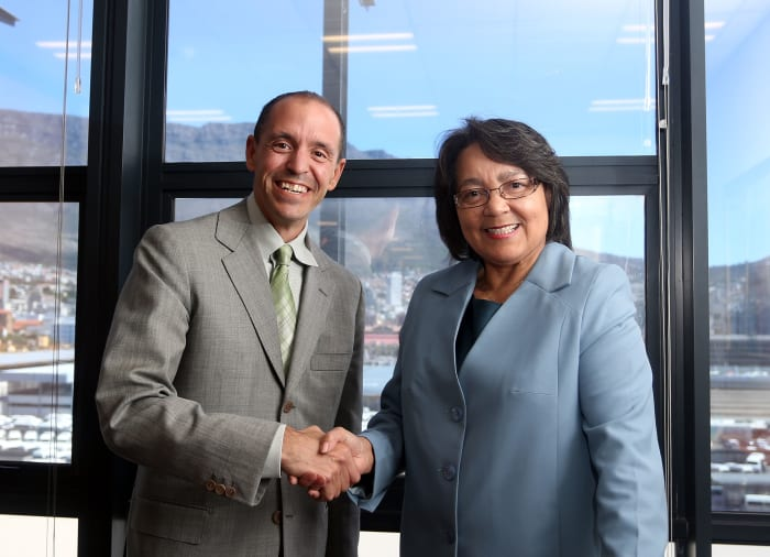 Airbnb Global Head of Public Policy and Public Affairs, Chris Lehane and he City's Executive Mayor, Patricia de Lille.