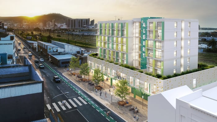 An artist's impression of the exterior of 1 on Albert.