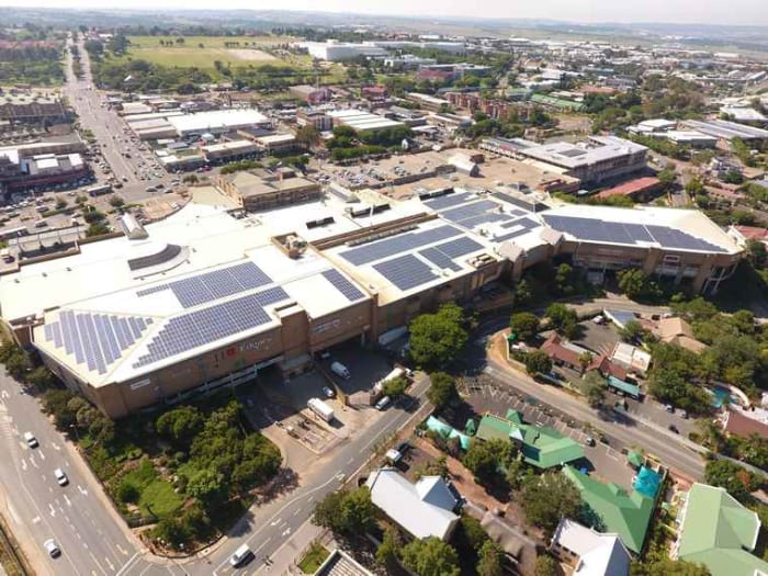 Solar installation on the Boulders Shopping Centre in Midrand.