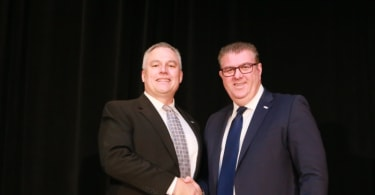 Tony Keane (left), President and CEO of the International Facility Management Association (IFMA) and Sean Tompkins, the Royal Institution of Chartered Surveyors (RICS) Chief Executive Officer.