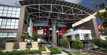Design District, Rosebank- a hub for creative companies- a striking Africrest building.