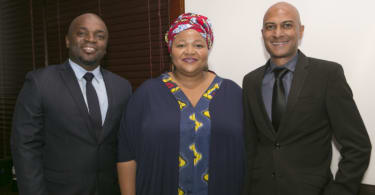 From left to right: The Executive Mayor of the City of Tshwane, Councillor Solly Msimanga, SAPOA President Nomzamo Radebe and SAPOA CEO, Neil Gopal.