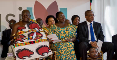 Ashanti monarch, Otumfuo Osei Tutu II, his wife and Kofi Sekyere, Chairman of the Board of the Kumasi City Mall.