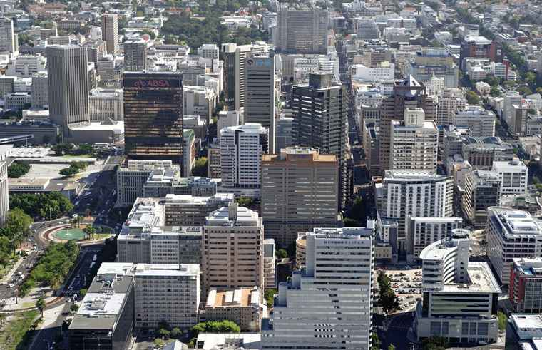 An aerial of Cape Town;s Central City.