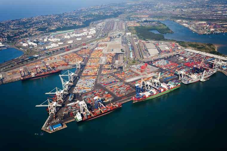 An aerial view of Durban Harbour.