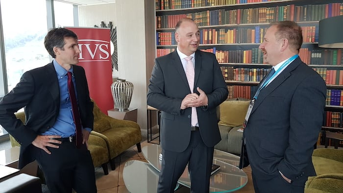 From left, Stephen Rushmore (global CEO and president of HVS), James Vos (Democratic Alliance shadow minister of tourism) and Tim Smith (managing partner HVS South Africa).